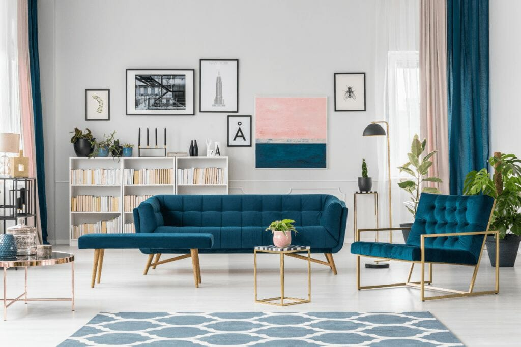 modern living room design combination of blue and pink